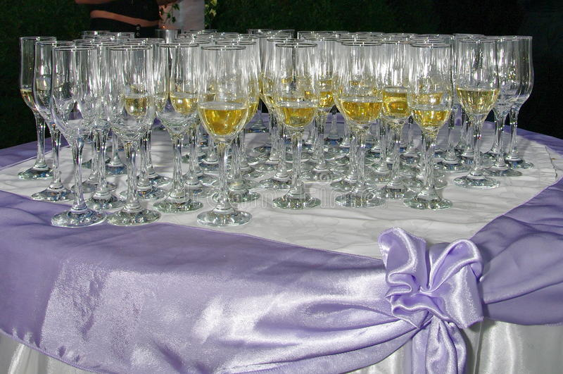 Champagne glasses. And empty glasses on the table, at a party royalty free stock photos