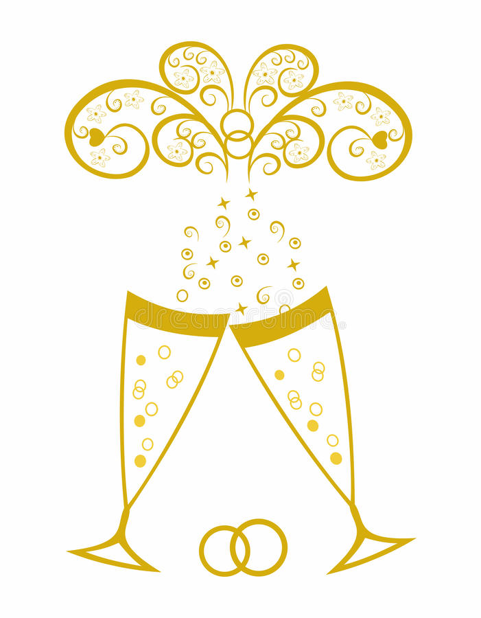 Champagne glasses. Golden wedding celebration stock image