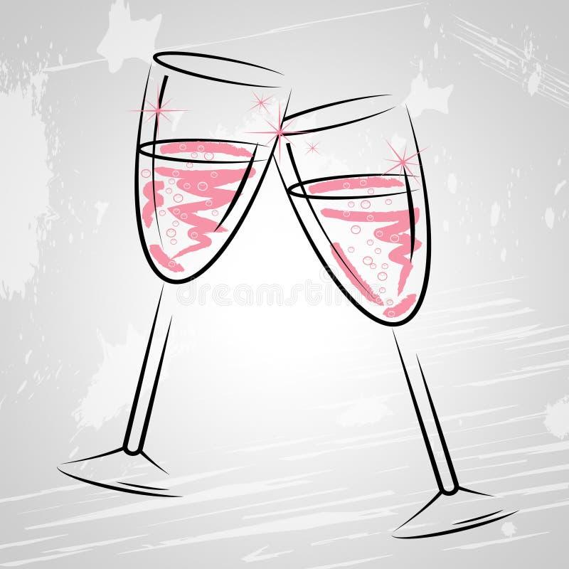 Champagne Glasses Indicates Sparkling Wine en Drank vector illustratie