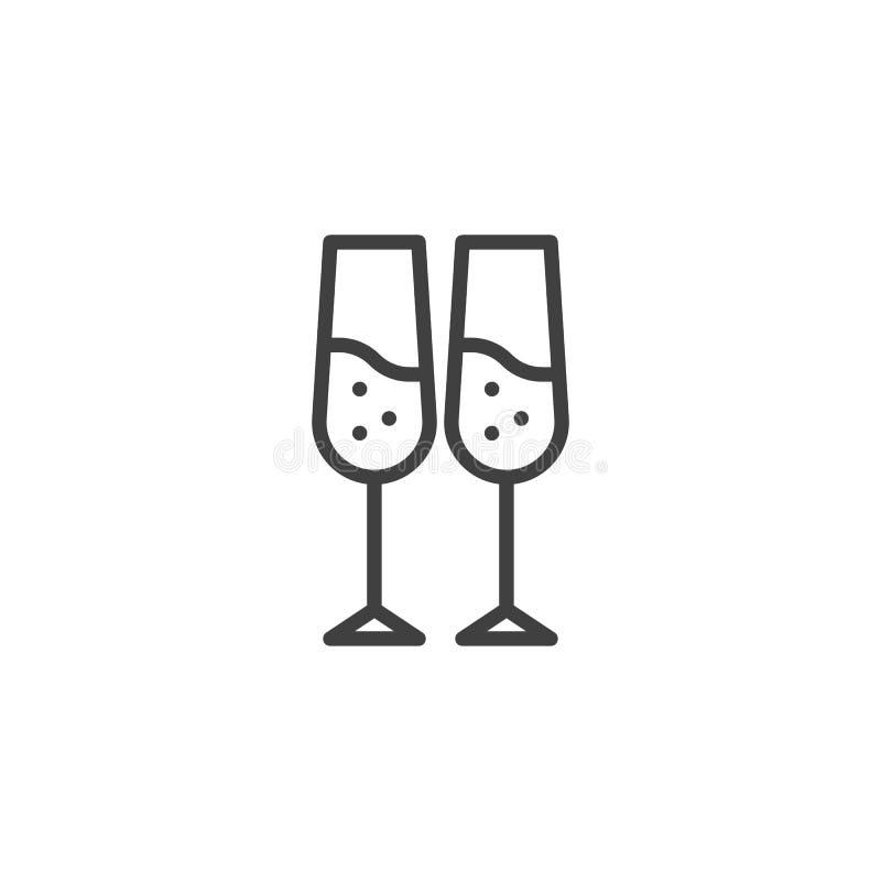 Champagne glasses line icon vector illustration