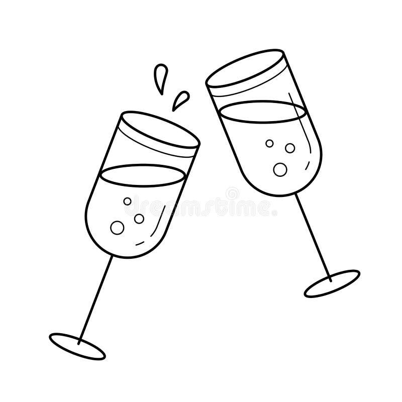 Champagne glasses vector line icon. vector illustration