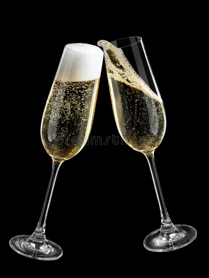 Champagne glasses making toast royalty free stock images