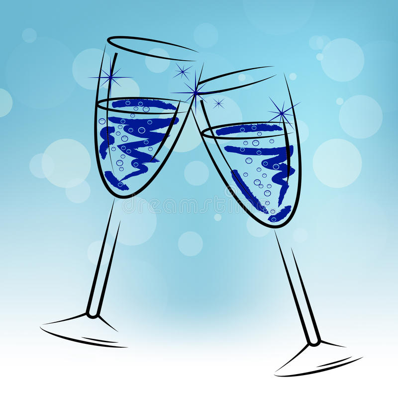 Champagne Glasses Means Beverage Fun en Gelukwensen vector illustratie