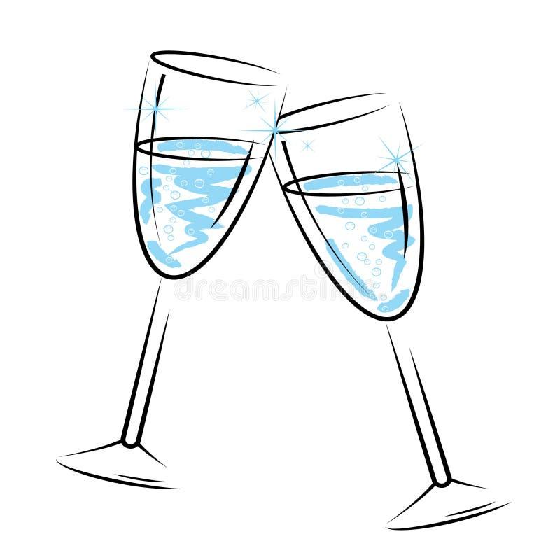 Champagne Glasses Means Sparkling Wine en Viering stock illustratie