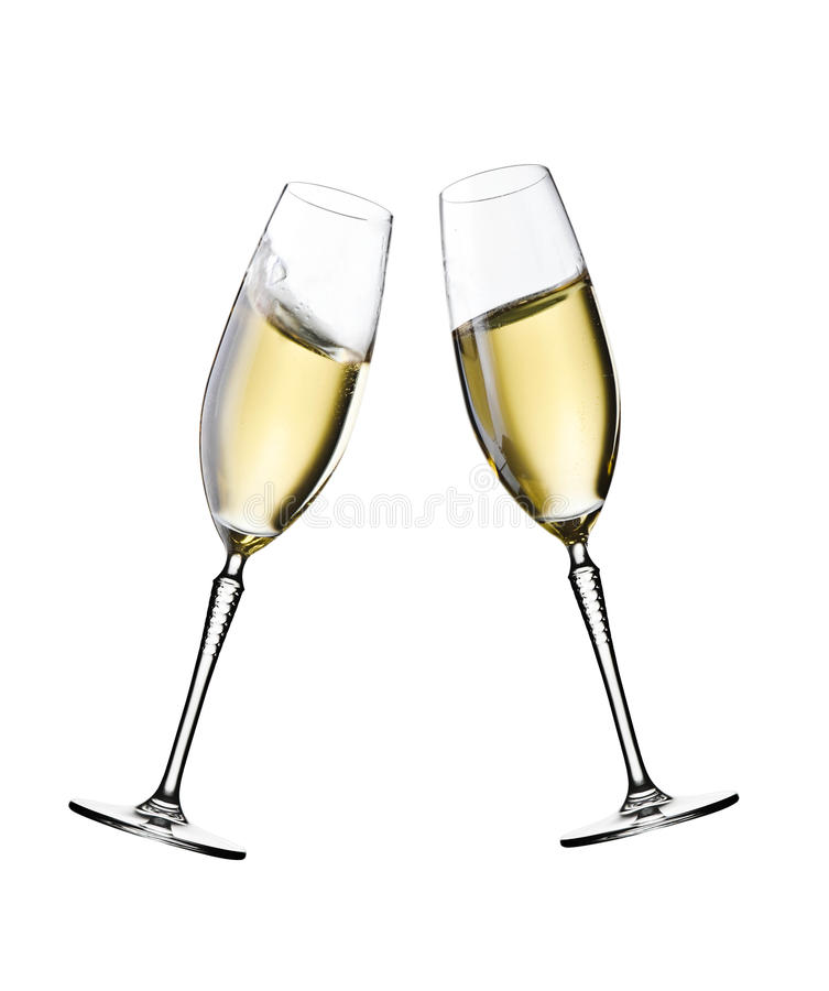 Champagne glasses in motion stock photo
