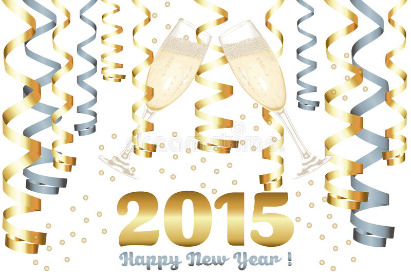 Champagne glasses in New Year. 2015 New Year card, available as vector-eps and jpg file stock illustration