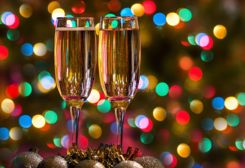 Download Champagne Glasses On New Year`s Eve. Merry Christmas And A Happy New Year Stock Image - Image of weekend, bubbles: 103360791