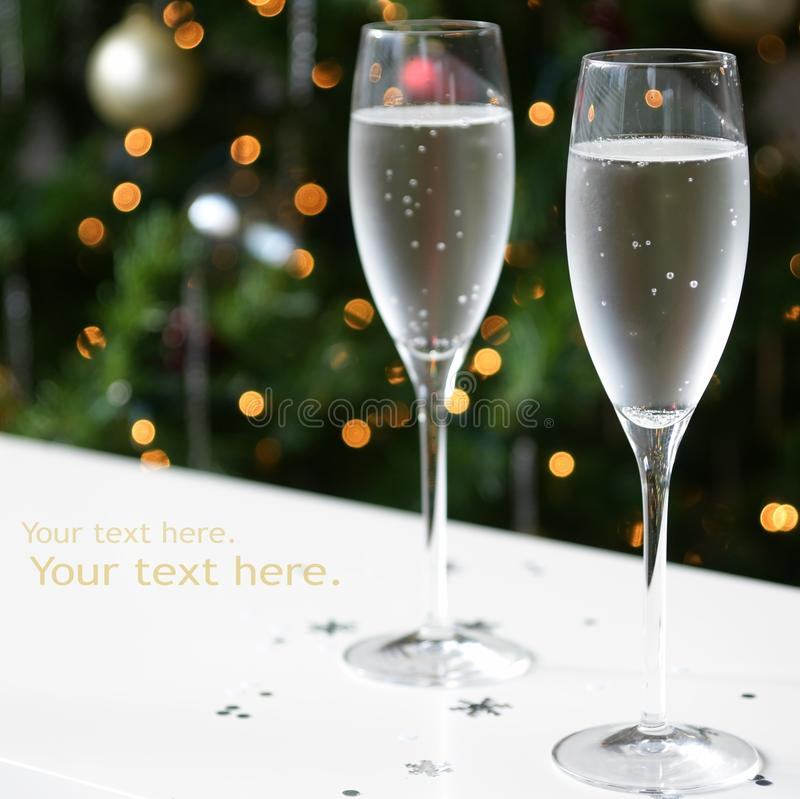 Champagne Glasses New Year Xmas stock photos