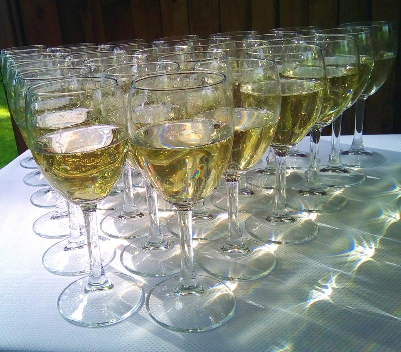 Champagne glasses. Prepared for wedding stock photography