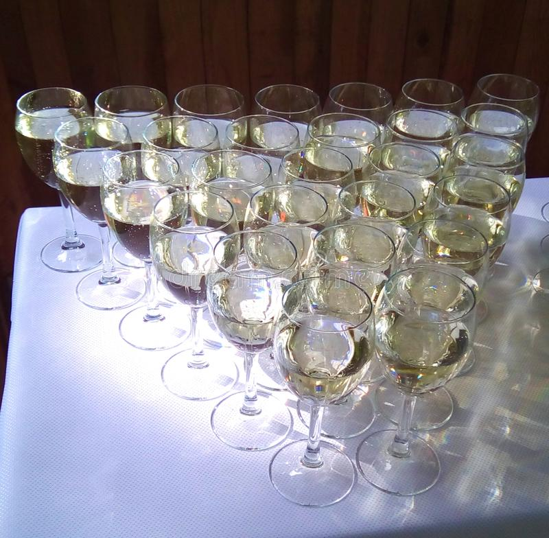 Champagne glasses. Prepared for wedding royalty free stock photos