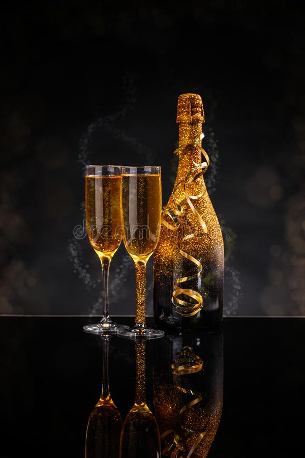 Champagne glasses ready to bring royalty free stock photos
