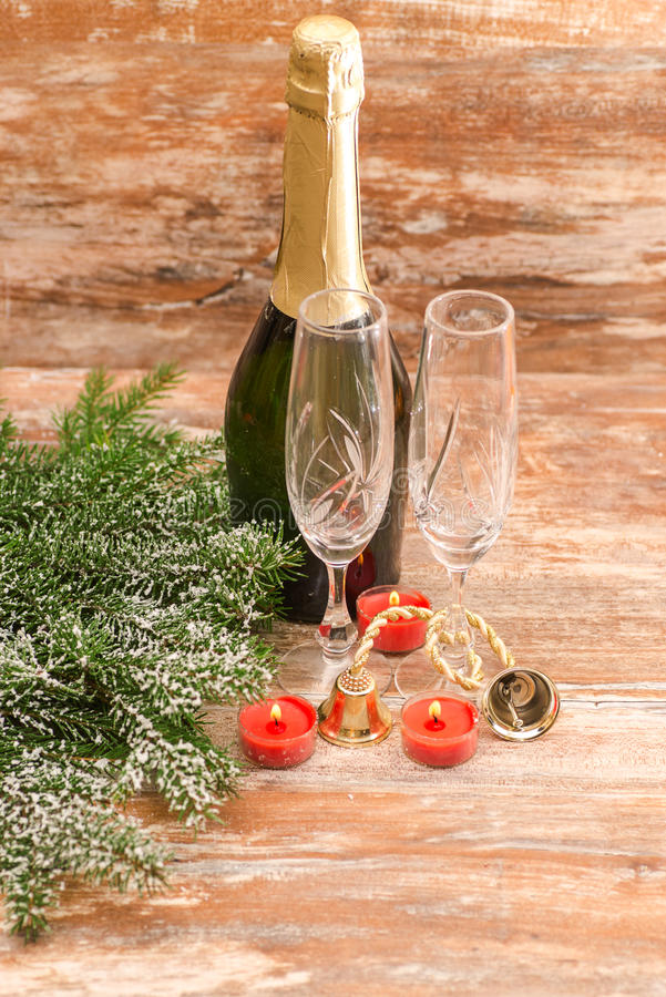 Champagne glasses ready to bring in New Year stock photography