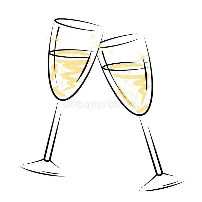 Champagne Glasses Represents Sparkling Wine en Alcohol vector illustratie