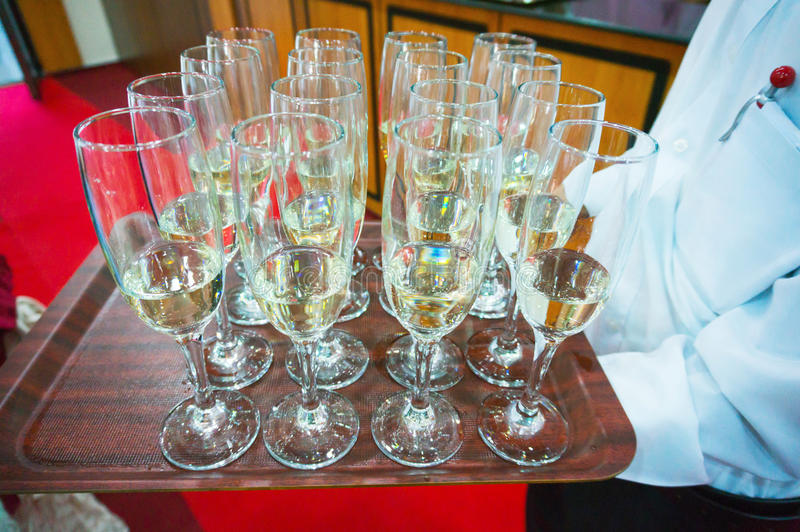 Champagne glasses served stock photos