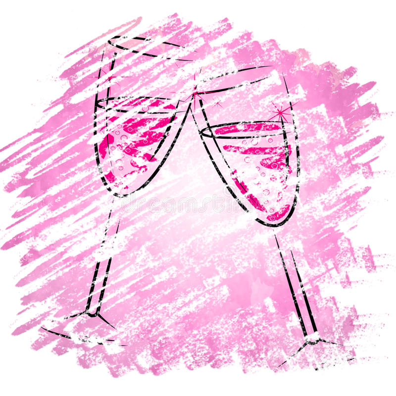 Champagne Glasses Shows Sparkling Alcohol en Wijnglazen stock illustratie