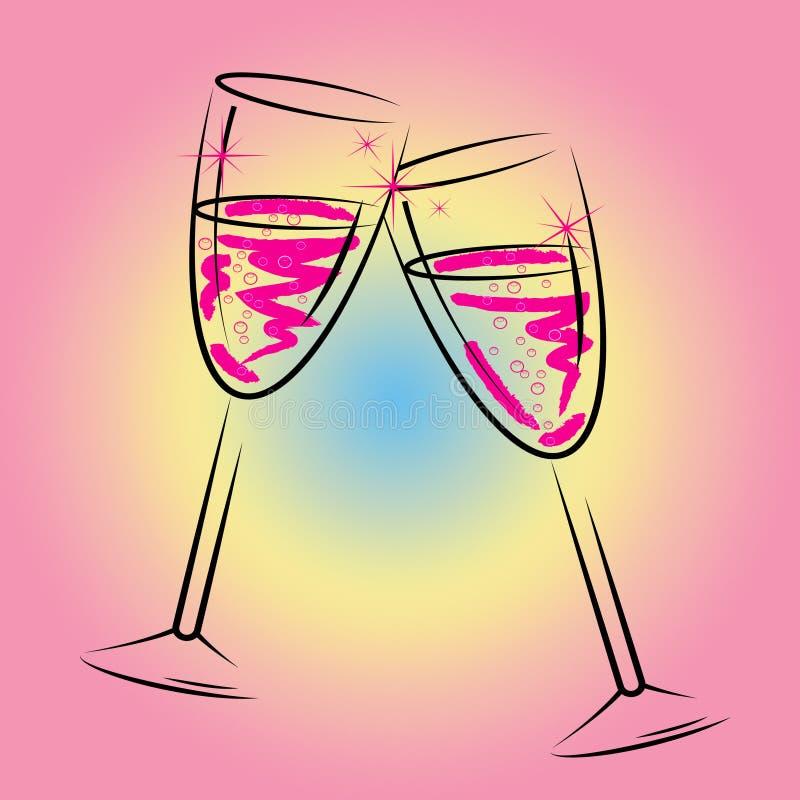 Champagne Glasses Shows Sparkling Wine en Drank stock illustratie