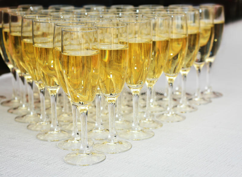 Champagne glasses on a table stock photography