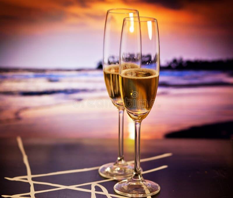 Beach Champagne: Champagne Glasses On Tropical Beach