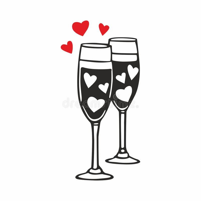 Champagne-glazen met harten royalty-vrije illustratie