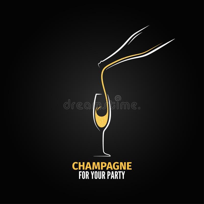 Champagne-het ontwerpachtergrond van de glasfles stock illustratie