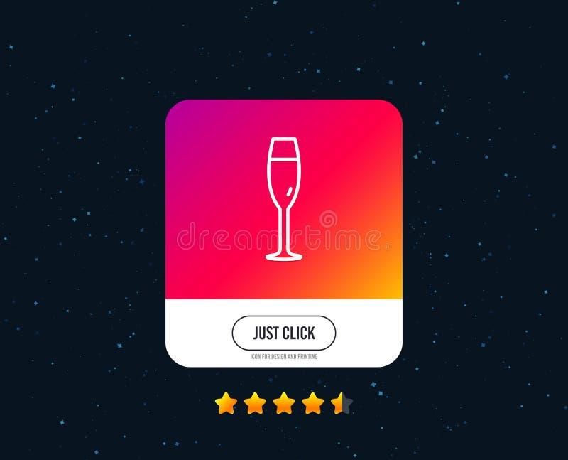 Champagne-het pictogram van de glaslijn Het teken van het wijnglas Vector royalty-vrije illustratie