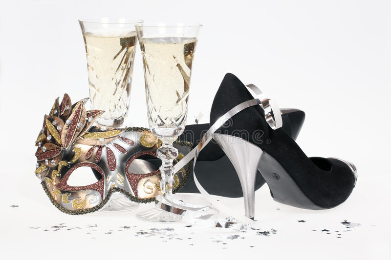 Champagne and high heel shoes stock photo