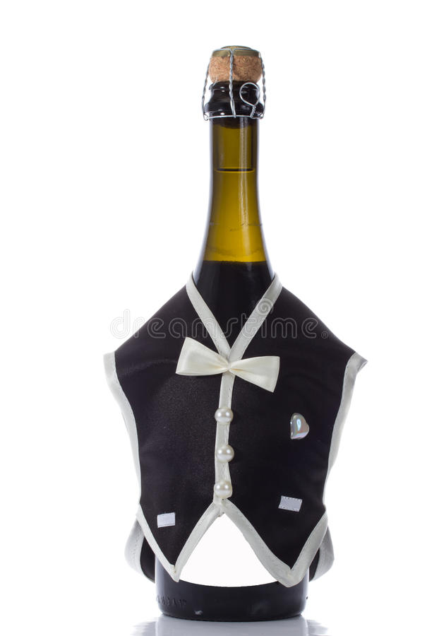 Champagne-Hochzeitsflaschen in der festlichen Dekoration der Klage stockbilder