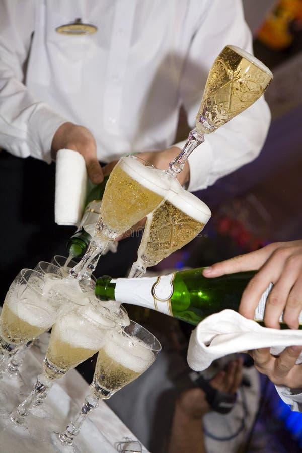 Champagne, huwelijk, restaurant royalty-vrije stock foto's