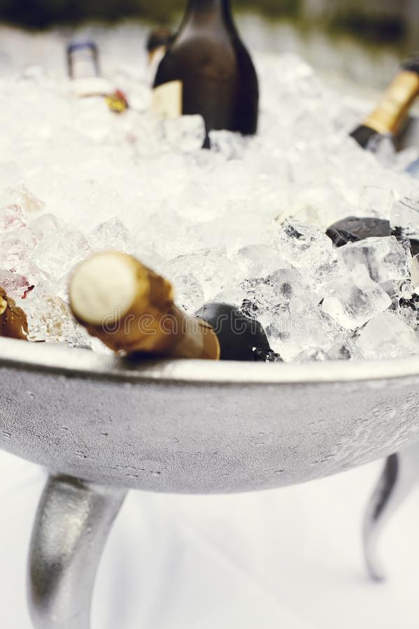 Champagne in ice royalty free stock images