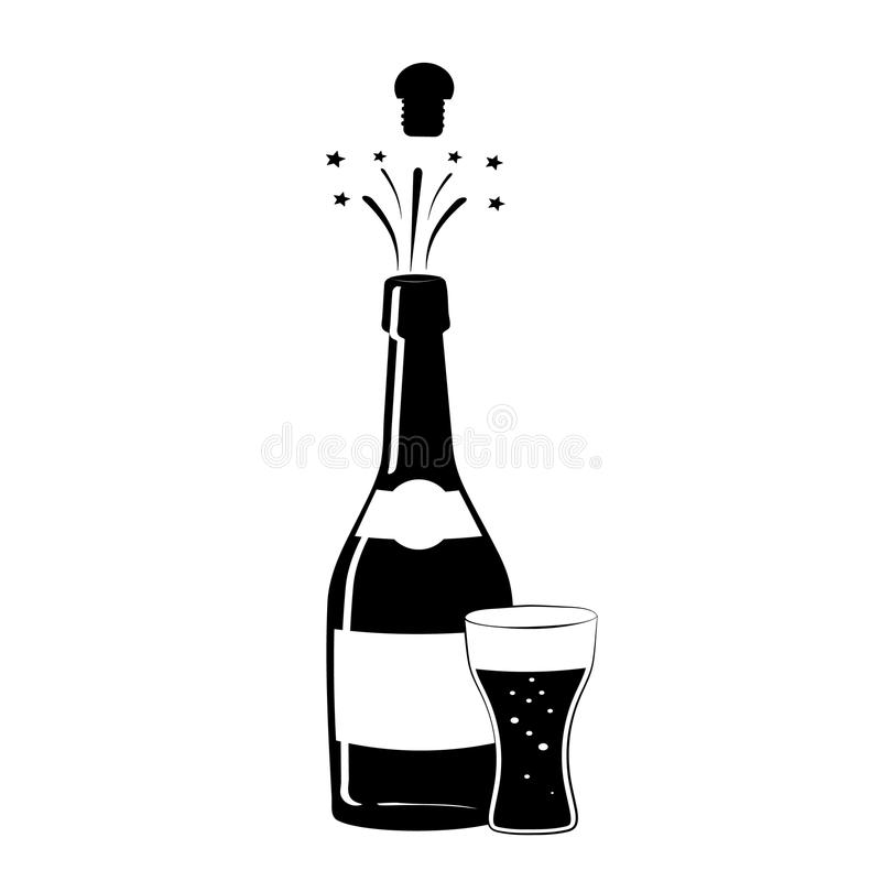 Champagne icon. Black silhouette of a champagne bottle and a glass. Iconography. Vector. Illustration royalty free illustration