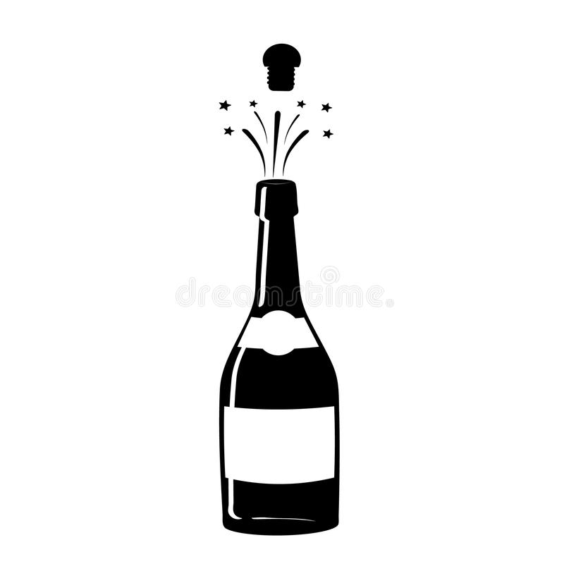 Champagne icon. Black silhouette of a champagne bottle. Iconography. Vector. Illustration royalty free illustration