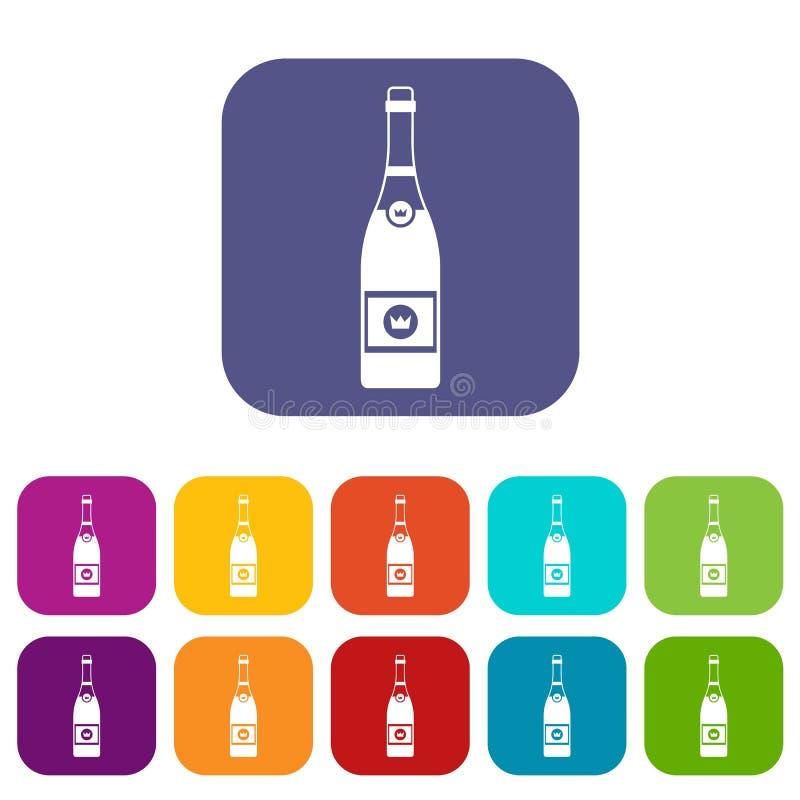 Champagne-Ikonen eingestellt stock abbildung