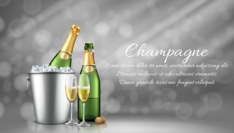 Champagne imbottiglia il secchiello del ghiaccio e due vetri pieni illustrazione vettoriale