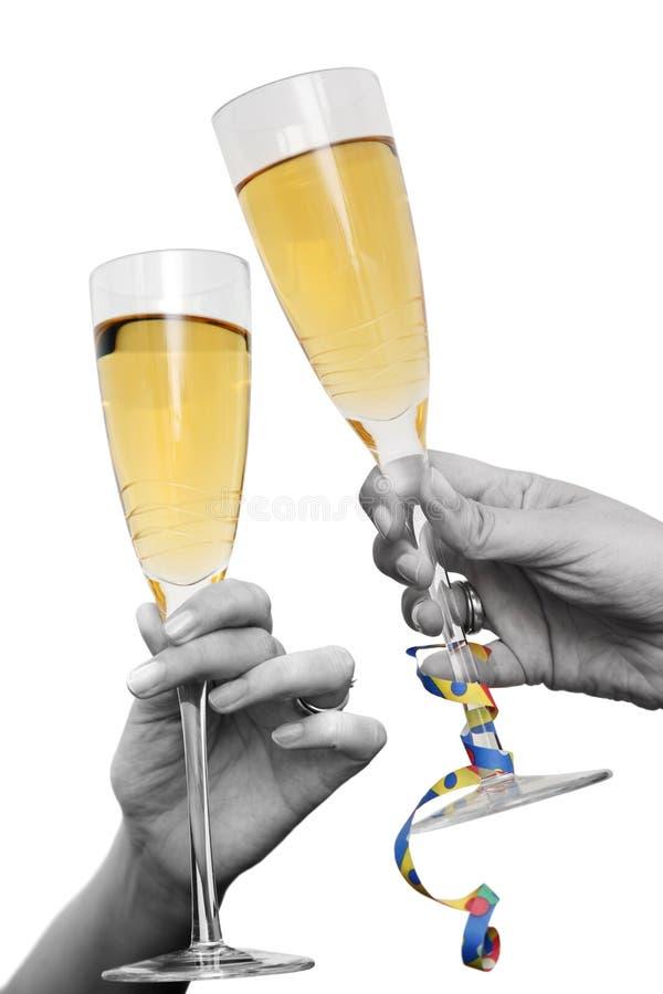 Champagne juicht toe stock afbeelding