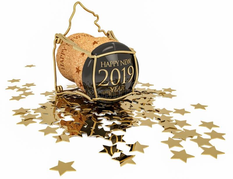 Champagne-Korken und Konfettis von goldenen Sternen lizenzfreie stockbilder
