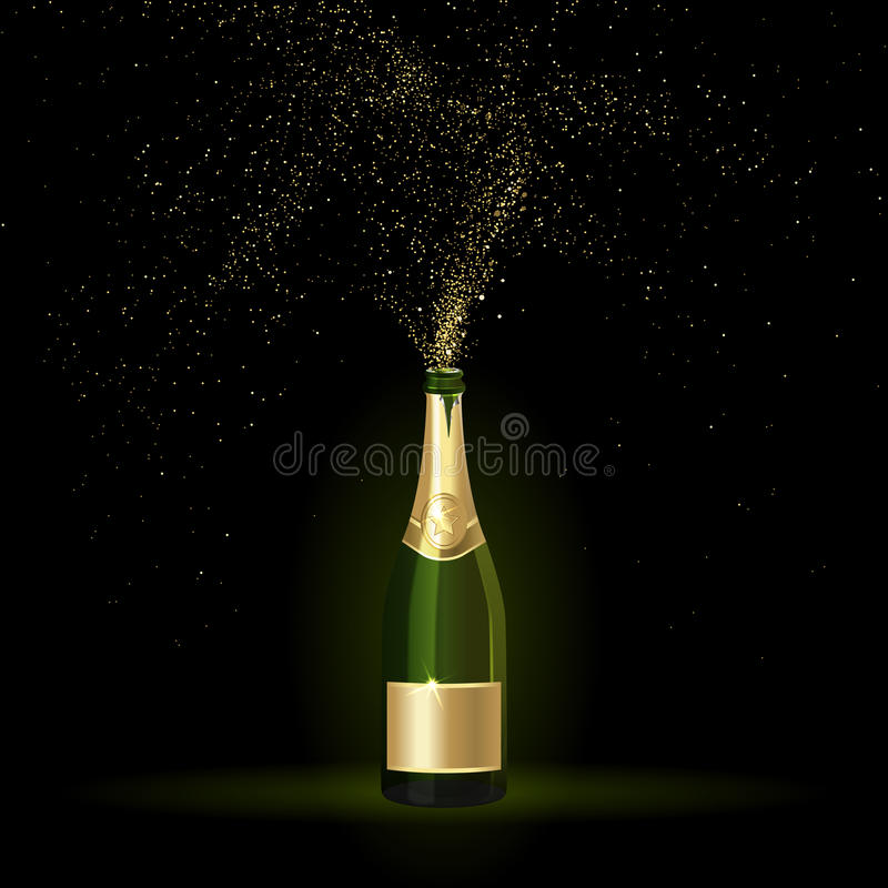 Champagne med guld- konfettier vektor illustrationer