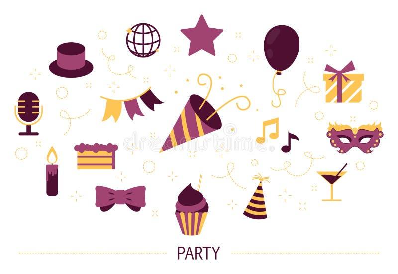 Champagne met vliegende ballons en geïsoleerde santahoed Idee van gebeurtenis voor pret en viering royalty-vrije illustratie