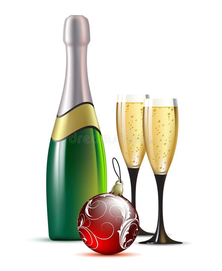 Champagne mit Tannenkugel lizenzfreie abbildung