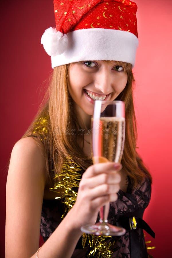 champagne mrs santa smiling στοκ φωτογραφίες με δικαίωμα ελεύθερης χρήσης
