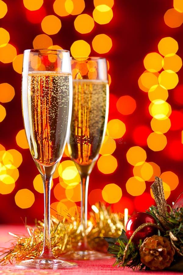Champagne a natale fotografie stock libere da diritti