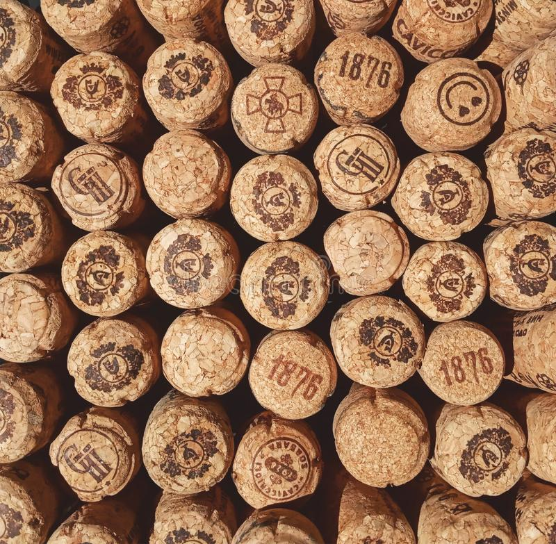 Champagne cork background collage. Champagne natural cork collage background royalty free stock image