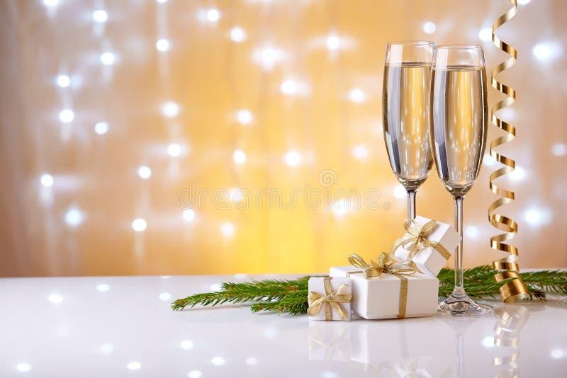 Champagne Neues Jahr und Weihnachten lizenzfreie stockbilder