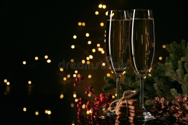 Champagne An neuf et Noël images libres de droits