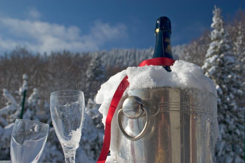 Champagne in neve fotografie stock libere da diritti