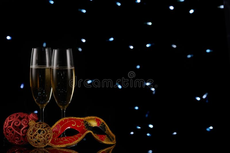 Champagne. New year and Christmas stock photo