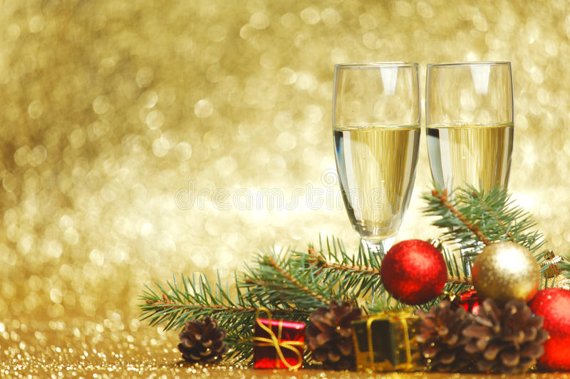 Champagne and new year decoration royalty free stock images