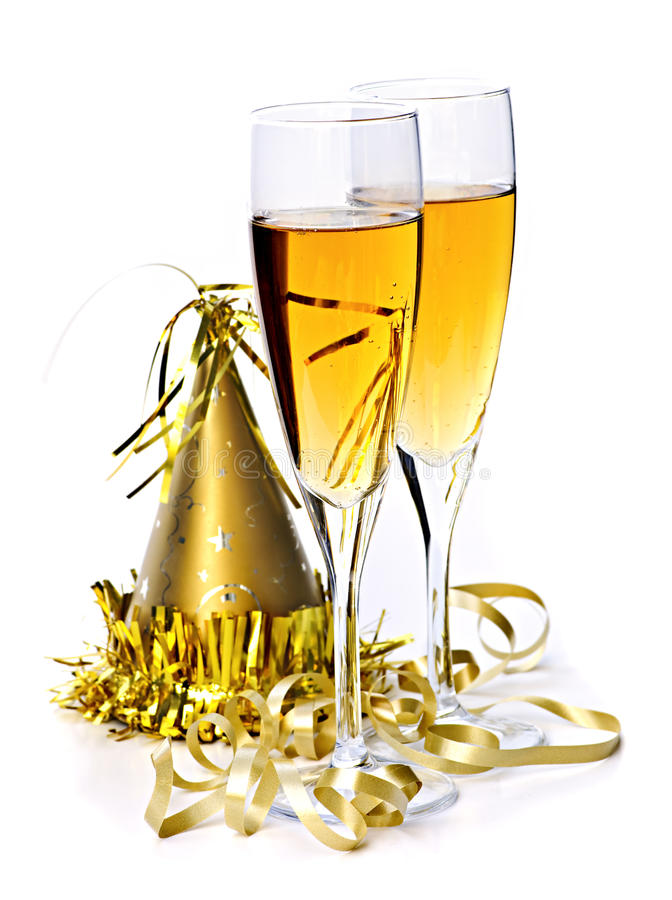 Champagne and New Years decorations royalty free stock photography