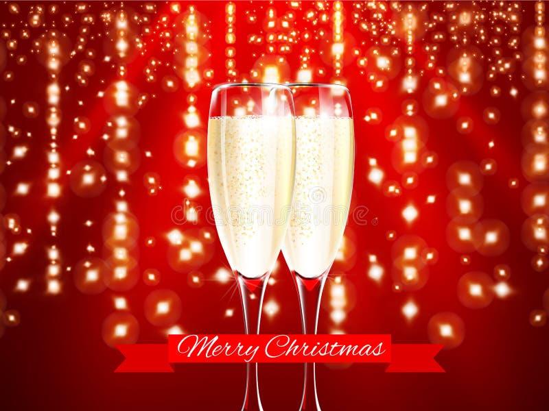 Champagne no vidro realístico com elementos vermelhos da fita e do ouro do Feliz Natal no fundo da luz vermelha Ilustração do vet ilustração do vetor