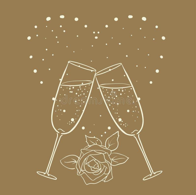 Champagne och steg med hjärtalinjen vektor illustrationer