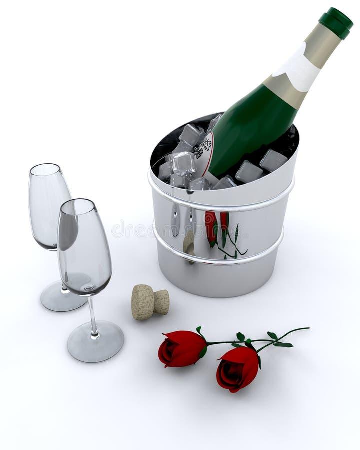 Champagne op ijs vector illustratie